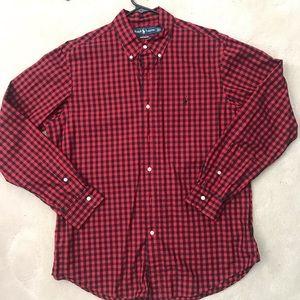 Ralph Lauren Black/Red Gingam Button Up sz L